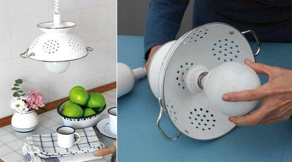 Lámpara original con un escurridor
